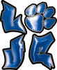 Love Decal with Pet Paw for Heart in Blue