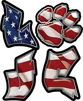 Love Decal with Pet Paw for Heart with American Flag
