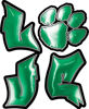 Love Decal with Pet Paw for Heart In Green