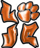 Love Decal with Pet Paw for Heart in Orange