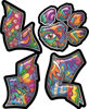 Love Decal with Pet Paw for Heart with Psychedelic Art