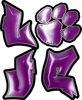 Love Decal with Pet Paw for Heart in Purple