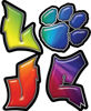 Love Decal with Pet Paw for Heart in Rainbow Colors