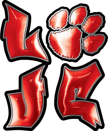 Love Decal with Pet Paw for Heart in Red