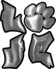 Love Decal with Pet Paw for Heart in Siver
