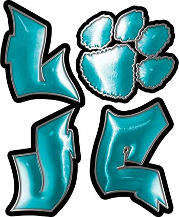 Love Decal with Pet Paw for Heart in Teal