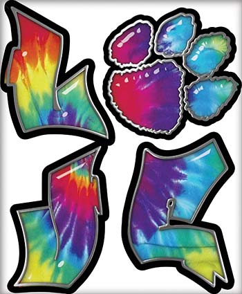 Love Decal with Pet Paw for Heart in Tie Dye Colors