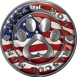 Rescue Mom Pet Rescue Adoption Paw and Heart Sticker Decal with American Flag