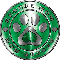 Rescue Mom Pet Rescue Adoption Paw and Heart Sticker Decal in Green