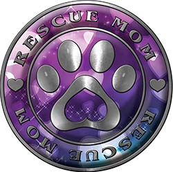 Rescue Mom Pet Rescue Adoption Paw and Heart Sticker Decal in Hearts