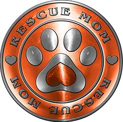 Rescue Mom Pet Rescue Adoption Paw and Heart Sticker Decal in Orange
