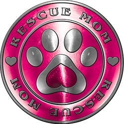 Rescue Mom Pet Rescue Adoption Paw and Heart Sticker Decal in Pink