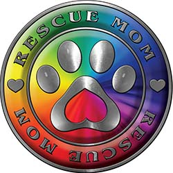 Rescue Mom Pet Rescue Adoption Paw and Heart Sticker Decal in Rainbow Colors