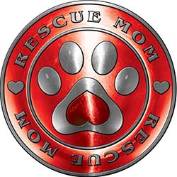 Rescue Mom Pet Rescue Adoption Paw and Heart Sticker Decal in Red