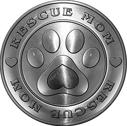 Rescue Mom Pet Rescue Adoption Paw and Heart Sticker Decal in Silver