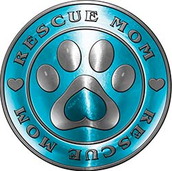 Rescue Mom Pet Rescue Adoption Paw and Heart Sticker Decal in Teal