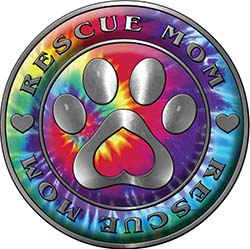 Rescue Mom Pet Rescue Adoption Paw and Heart Sticker Decal in Tie Dye Colors