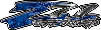 GMC or Chevy Z71 Off Road Decals in Blue Camouflage