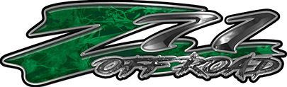 GMC or Chevy Z71 Off Road Decals in Green Camouflage