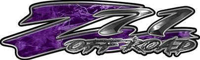 GMC or Chevy Z71 Off Road Decals in Purple Camouflage