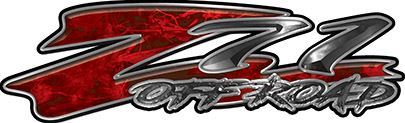 GMC or Chevy Z71 Off Road Decals in Red Camouflage