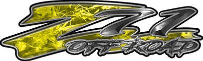 GMC or Chevy Z71 Off Road Decals in Yellow Camouflage