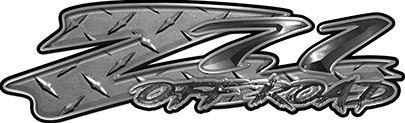 GMC or Chevy Z71 Off Road Decals in Diamond Plate