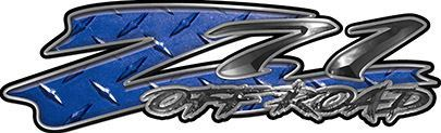 GMC or Chevy Z71 Off Road Decals in Blue Diamond Plate
