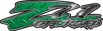 GMC or Chevy Z71 Off Road Decals in Green Diamond Plate