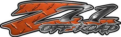 GMC or Chevy Z71 Off Road Decals in Orange Diamond Plate