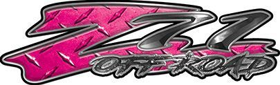 GMC or Chevy Z71 Off Road Decals in Pink Diamond Plate