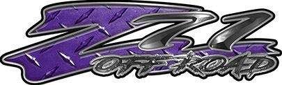GMC or Chevy Z71 Off Road Decals in Purple Diamond Plate