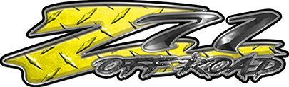 GMC or Chevy Z71 Off Road Decals in Yellow Diamond Plate