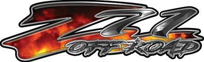 GMC or Chevy Z71 Off Road Decals in Real Fire