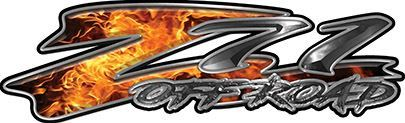 GMC or Chevy Z71 Off Road Decals in Inferno Flames