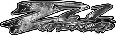 GMC or Chevy Z71 Off Road Decals in Gray Inferno Flames
