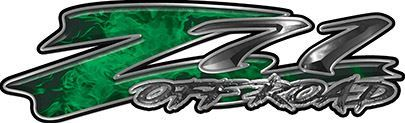 GMC or Chevy Z71 Off Road Decals in Green Inferno Flames