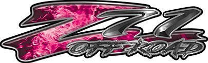 GMC or Chevy Z71 Off Road Decals in Pink Inferno Flames