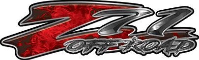 GMC or Chevy Z71 Off Road Decals in Red Inferno Flames
