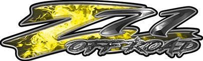 GMC or Chevy Z71 Off Road Decals in Yellow Inferno Flames