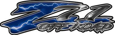 GMC or Chevy Z71 Off Road Decals in Blue Lightning