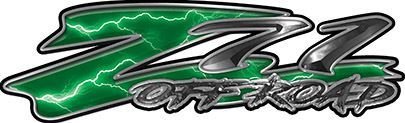 GMC or Chevy Z71 Off Road Decals in Green Lightning
