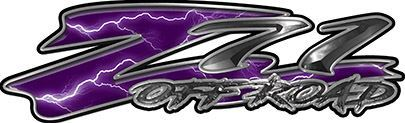 GMC or Chevy Z71 Off Road Decals in Purple Lightning