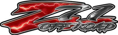 GMC or Chevy Z71 Off Road Decals in Red Lightning