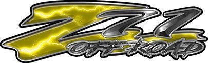 GMC or Chevy Z71 Off Road Decals in Yellow Lightning