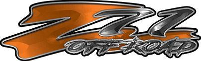 GMC or Chevy Z71 Off Road Decals in Orange