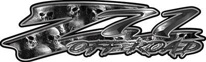 GMC or Chevy Z71 Off Road Decals with Gray Skulls