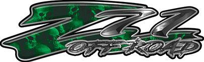 GMC or Chevy Z71 Off Road Decals with Green Skulls