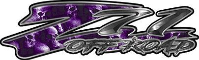 GMC or Chevy Z71 Off Road Decals with Purple Skulls
