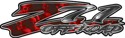 GMC or Chevy Z71 Off Road Decals with Red Skulls